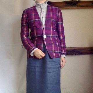 ロキエ(Lochie)のノーカラー 綺麗色 チェック柄 麻混 ジャケット Vintage(ノーカラージャケット)