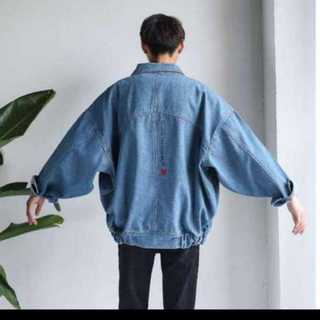 人気上位 ?メンズ デニムジャケット 水色  ハレ系 韓国 Mサイズ(Gジャン/デニムジャケット)