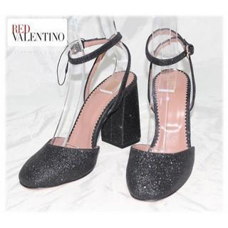 レッドヴァレンティノ(RED VALENTINO)の新品【RED ヴァレンティノ 】ラメ サンダル 黒 37(23.5cm)(サンダル)