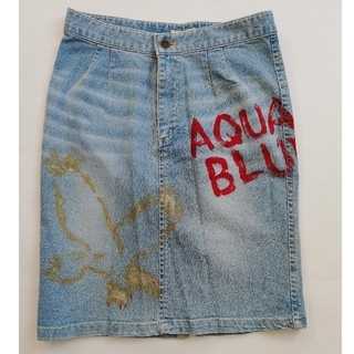 アクアブルー(Aqua blue)のAqua blue デニム タイトスカート(ひざ丈スカート)