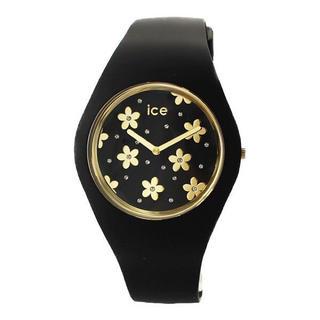アイスウォッチ(ice watch)の新品 アイスウォッチ 男女兼用 腕時計 016668 黒金 花柄文字盤 40mm(腕時計)