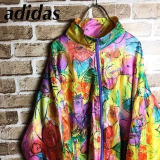 アディダス(adidas)のド派手奇抜! 90s adidas ナイロンジャケット ブルゾン ロゴ イエロー(ナイロンジャケット)