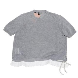 ミュウミュウ(miumiu)の新品ミュウミュウmiu miu半袖クルーネック綿ニット グレー#38(ニット/セーター)
