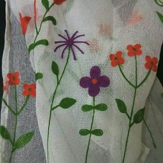 新品❁ カフェカーテン 刺繍 花 フラワー シースルー レース(カーテン)