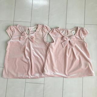 エイチアンドエム(H&M)のH&M キッズ サイズ110 & 130 ピンク シャツ 2枚セット 双子コーデ(その他)