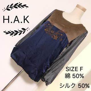 ハク(H.A.K)のH.A.K シルク混 トップス(カットソー(半袖/袖なし))
