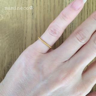 2号サイズ ステンレス製 イエローゴールドネジネジリング 指輪(リング(指輪))