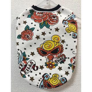 ヒステリックミニ(HYSTERIC MINI)の★ハンドメイド シャツ バラ柄 白 ボーダー 犬服 M★(ペット服/アクセサリー)