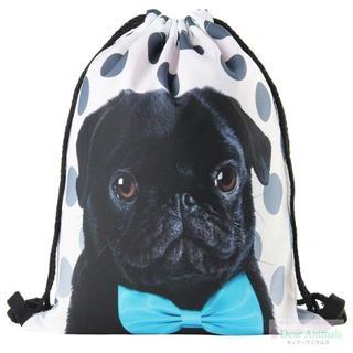 ぱぐ パグかばん 黒ぱぐ巾着袋 バックバッグ 新品未使用品 送料無料♪ 001(犬)