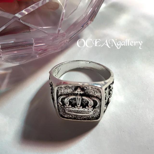 送料無料 19号 シルバークラウンリング 指輪 キング女王王冠 シグネットリング メンズのアクセサリー(リング(指輪))の商品写真
