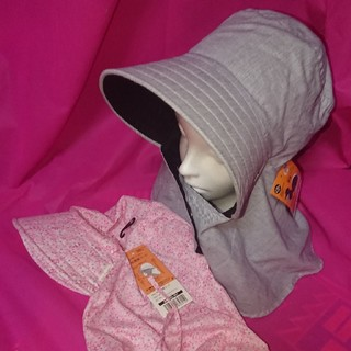 日よけ帽子2枚 (片面黒リバーシブル日よけ帽子&防蚊日よけ帽子)(その他)