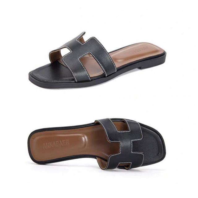 本革 シープスキンレザー カラバリ豊富サンダル ぺたんこ レディースの靴/シューズ(サンダル)の商品写真