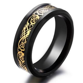 特価高品質!クールなブラック&ゴールドのステンレスリング 15、16号相当 (リング(指輪))