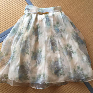 ダズリン(dazzlin)の今季♡ブーケ花柄オーガンジースカート (ひざ丈スカート)