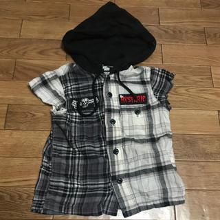 ヒステリックミニ(HYSTERIC MINI)のヒスミニ フード チェックシャツ 80サイズ(シャツ/カットソー)