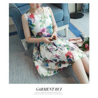 05fc1ef9e12b4 チェスティ(Chesty)の春夏花柄ワンピース☆ノースリーブフラワー白ドレス(