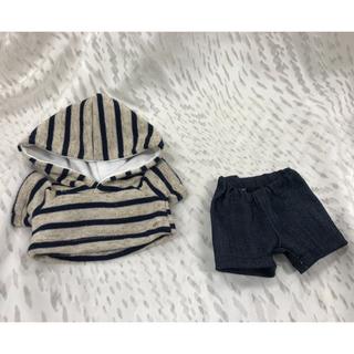 モンチッチSサイズの服(^-^)パーカーとパンツのセット(^-^)紺ベージュ(その他)