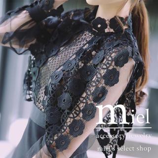 セルフポートレイト(SELF PORTRAIT)の刺繍ブラックドレス/スタイルアップドレス(ミディアムドレス)