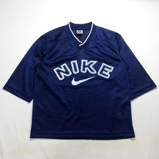 ナイキ(NIKE)のNIKE ナイキ 七分丈 メッシュ Tシャツ アメフトシャツ デカロゴ(Tシャツ(長袖/七分))