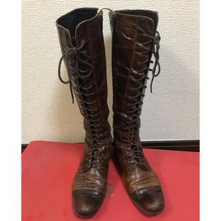 アシナガオジサン(あしながおじさん)の福岡発送BLayインポートヴィンテージ風シワ加工ブラウンロングブーツ(ブーツ)