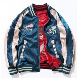 LTjk119新品メンズ ジャケット 柄物 刺繍 野球服 両面着(スカジャン)