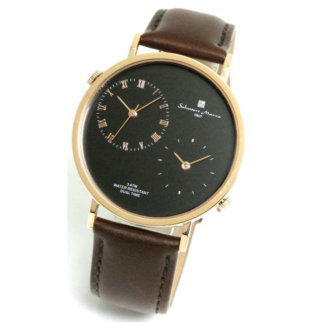 Salvatore Marra(サルバトーレマーラ)のサルバトーレマーラ 腕時計 メンズ レザーベルト 本革 デュアルタイム シンプル メンズの時計(腕時計(アナログ))の商品写真