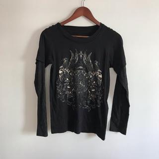 ロエン(Roen)のRoen メンズ LOVE&Peace ロンT 黒 スパンコール 重ね着(Tシャツ/カットソー(七分/長袖))