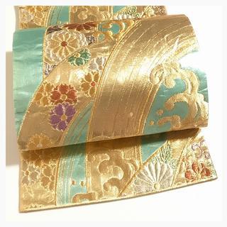 極上 正絹 振袖 上質 袋帯 ゴールドxグリーン 六通柄 中古品(振袖)