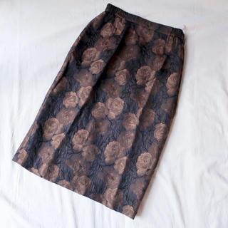 デプト(DEPT)のビンテージ 薔薇柄ペンシルスカート S(ひざ丈スカート)