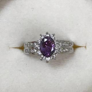 リング 指輪 CZ ダイヤ アメジスト ホワイトゴールド 19号 大きいサイズ(リング(指輪))