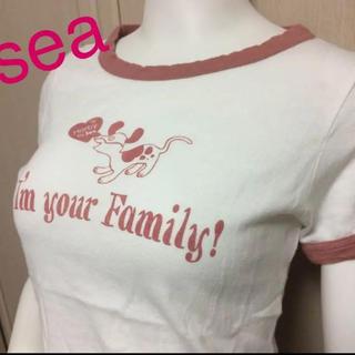 シー(SEA)の⑴新品タグ付定期4935円 seaレア初期Tシャツ 薄手可愛い!Freeサイズ(Tシャツ(半袖/袖なし))