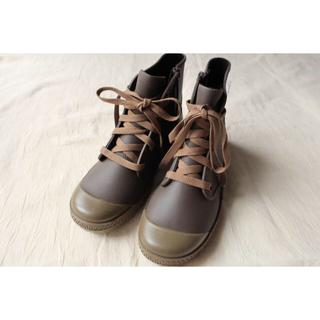 ハンター(HUNTER)の新品未使用 レースアップレインブーツ ブラウン 24〜24.5 L ノーブランド(レインブーツ/長靴)