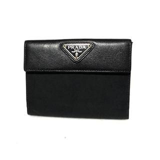 f86d2fb1a49a プラダ(PRADA)のPRADA プラダ 二つ折り財布 テスート×サフィアーノ ネロ ブラック(