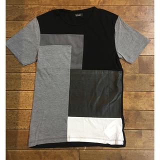 ザラ(ZARA)のZARA ザラ パッチワーク 異素材 カットソー 半袖 Tシャツ ブラック(Tシャツ/カットソー(半袖/袖なし))