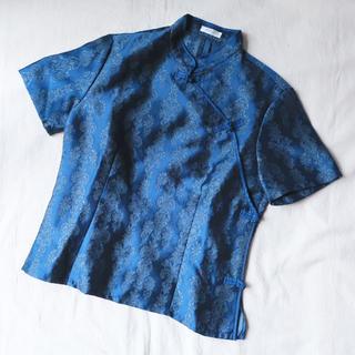 デプト(DEPT)の古着屋購入 チャイナトップス 青 (シャツ/ブラウス(半袖/袖なし))
