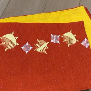 浴衣の帯 オレンジ黄色 糸巻き柄 珍しい古典柄(浴衣帯)