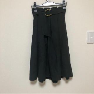 しまむら - ミモレ スカート ベルト付き 黒 ブラック