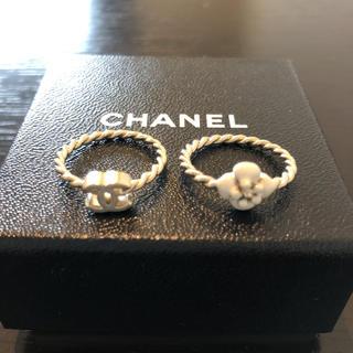 シャネル(CHANEL)のCHANEL シャネル リング 指輪 カメリア 2連(リング(指輪))