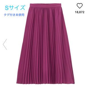 ジーユー(GU)の【未使用】GU プリーツミディスカート パープル Sサイズ(ロングスカート)