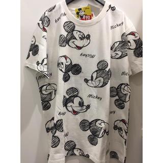 ディズニー(Disney)の新品 ミッキー 手書き風 Tシャツ 総柄 メンズ  男女兼用 ディズニー(Tシャツ/カットソー(半袖/袖なし))