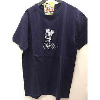 ディズニー(Disney)の新品 ミッキー 紺 刺繍 Tシャツ メンズ  男女兼用 おしゃれ ディズニー(Tシャツ/カットソー(半袖/袖なし))