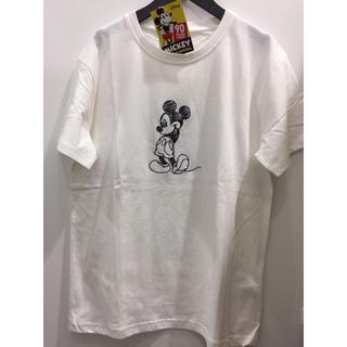 ディズニー(Disney)の新品 ミッキー 白 刺繍 Tシャツ メンズ  男女兼用 ペアルック 大きいサイズ(Tシャツ/カットソー(半袖/袖なし))