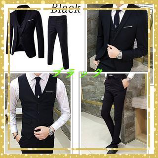 【セットアップ】スーツ 3点セット 春夏 細身 オルチャン 韓国ブラック M(セットアップ)