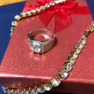 新品未使用ダイヤモンドczジルコニアプラチナゴールドgpリング指輪サイズ13(リング(指輪))