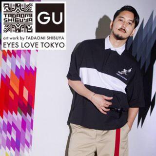 ジーユー(GU)のGU EYES LOVE TOKYOコラボ ラガーシャツ XL(ポロシャツ)