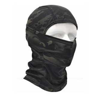 ブラック 森林 迷彩 高機能 3Way フェイスマスク 目だし帽(その他)