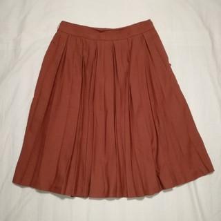 シマムラ(しまむら)の朱色 プリーツスカート  膝下丈(ひざ丈スカート)