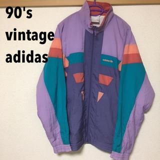 アディダス(adidas)の【90's】アディダス ビンテージ  カラフルナイロンJK(ナイロンジャケット)