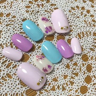 ネイルチップ 紫陽花カラーネイル