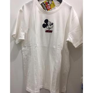 ディズニー(Disney)の新品 ミッキー 白 顔 刺繍 Tシャツ メンズ  男女兼用 ペアルック (Tシャツ/カットソー(半袖/袖なし))